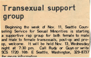 1974 – First Trans Support Group