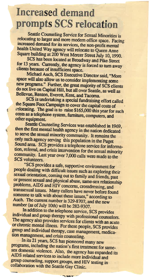1990 – Increased Demand Prompts SCS Relocation